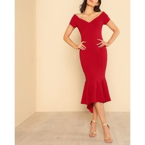 Red Off the Shoulder Bodycon Mermaid Midi Dress